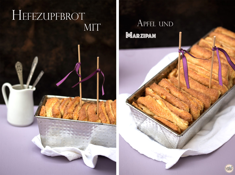 Hefezupfbrot mit Apfel und Marzipan